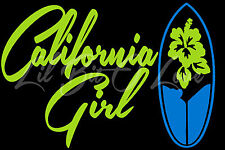 California Girl Vinyl Decal Sticker Surfboard Auto Vehicle 2 Colors Surfing Surf