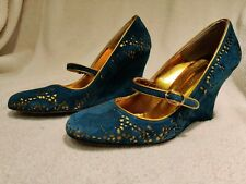 LK Bennett ladies shoes, size 6 39 Turquoise Suede With Gold Pattern wedges