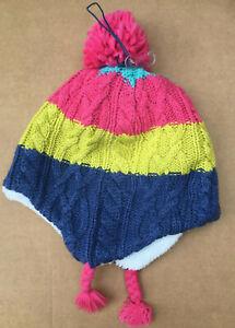 John Lewis Children's Colour Block Cable Knit Trapper Hat SIZE LARGE FREE UK PP