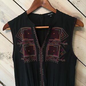 Madewell Size 0 Embroidered 100% Silk Folkway Jumpsuit Aztec Southwestern