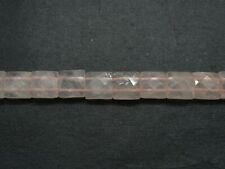 "01 Strand Faceted Rose Quartz Beads 15"" Long 12mm Briolette Cut Square Beads"