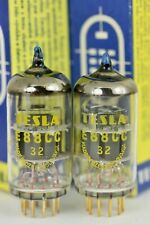 NOS 6922 E88CC TESLA BLUE-TIP GOLD-GRID MILITARY MATCHED PAIR TUBES