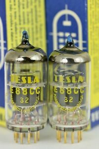NOS 6922 E88CC TESLA BLUE-TIP GOLD-GRID MILITARY MATCHED PAIR TUBES