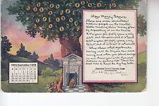 American Trust & Savings Bank September 1909 Calendar Postcard Cedar Rapids Iowa
