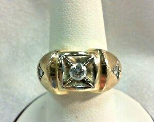 14K SOLID GOLD Men's Diamond Ring Size 8.5