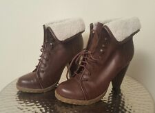 Mossimo Brown Ankle Boots Womens Size 6 M FAUX FUR
