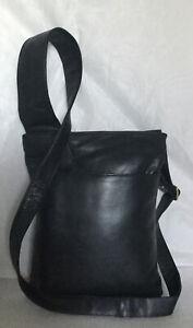 HIDESIGN Padded Black Leather Cross Body/Shoulder Bag / Handbag