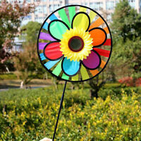 Colorful Sunflower Windmill Whirling Wind Spinner Kids Toys Garden Yard Decor YK