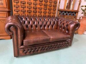H38001 Brown Leather Chesterfield Sofa Lounge