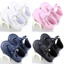 Newborn Kids Girls Crib Shoes Soft Sole Baby Thongs Flip Flops Sneakers Sandals