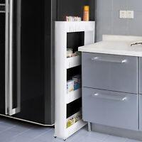 Mobile Shelving Unit Organiser Storage Basket Slim Slide Out Rack Kitchen Pantry