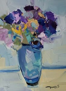 JOSE TRUJILLO Oil Painting IMPRESSIONISM Contemporary COLLECTIBLE 12X16 Floral