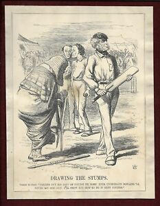 Antique 1860s Punch cartoon DRAWING THE STUMPS Disraeli Cobden Cricket theme