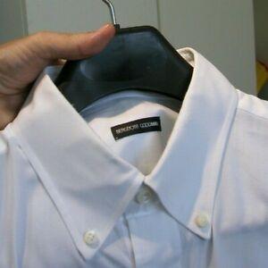 $695 Bergdorf Goodman Custom made White Pique Fine Cotton Dress Shirt XXL 18 36