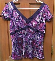 Ann Taylor Loft Size 8 Purple Short Sleeve V-Neck Purple Floral Empire Waist Top