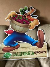 RARE ALBERTSONS STORE DISNEY DISPLAY GOOFY CALIFORNIA GROWN DOUBLE SIDED SIGN