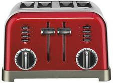Cuisinart 4-Slice Red Toaster Metallic Brushed Stainless 6-Setting Crumb Tray