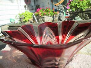 Crystal Bow  Ruby Red Cut Soga Bowl Japan Rare