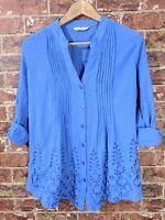Soft Surroundings sz M Blue Crinkle Gauzy Blouse Top Eyelet Tab Sleeve