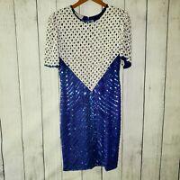 Vintage 1980's Rina Z Women's Sequin Dress With 100% Silk Bodice EUC