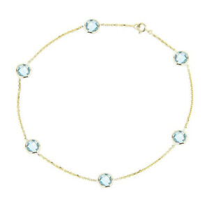 14K Yellow Gold Anklet Bracelet With Blue Topaz Gemstones 9.5 Inches