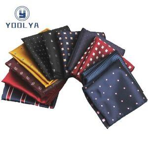 Men's Handkerchief Stripe Dots Rolled Edged Pocket Square 22cm Chest Towel Hanky