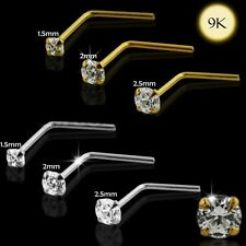 1x 22g 9K Solid Yellow Gold 1.5mm Cz Gem L-Shaped Nose Ring Stud Pin Bar 9Kns008