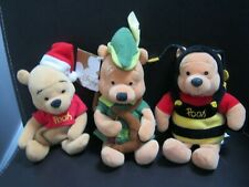 Disney Store 3 x Lovely Winnie The Pooh Character Soft Beanie Toys.