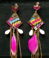 Jewelfy Indian Gold Oxidized Pink Feather Tassel Earrings Pearl Jhumka Fashion