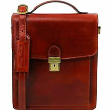 David- Leather Crossbody Bag - Large Size Made In Italy From Genuine Leather New