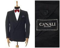 Mens CANALI Tuxedo Dinner Double Breasted Blazer Coat Jacket Black Size 38 48