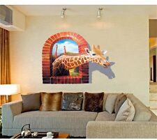 Grande Finestra 3D Giraffa Vew Adesivi Da Parete arte Carta Da Parati Casa