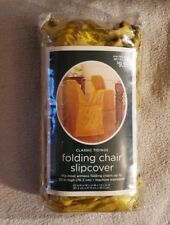 Classic Tidings Folding Chair Slipcover for Armless Chair up to 30in gold