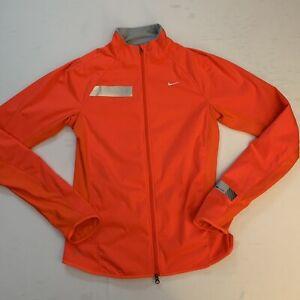 NIKE Womens Dri Fit Element Shield Full Zip Running Jacket Small Orange EUC 👀