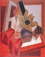 Cubist Modern Art Flowers On The Table Still Life Juan Gris Food Oil Spanish