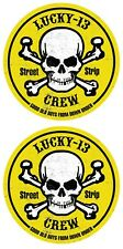 LUCKY 13  ROCKABILLY SKULL BONES STREET STRIP CREW BOYS DOWN UNDER STICKER PAIR