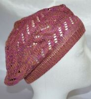 Ladies DOL Knit Cap Hat Beanie BERET COLD WEATHER Crochet Pink Multi Swirl
