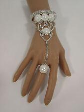Fashion Bracelet Slave Ring Rhinestones Beads Women Silver Net Metal Hand Chain