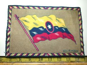 VINTAGE / ANTIQUE COLOMBIA CIGAR BOX FELT FLAG DOLLHOUSE RUG {22}