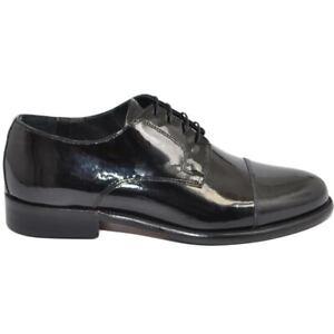 Scarpe uomo eleganti cerimonia stringate lucide nere con fondo vero cuoio vernic