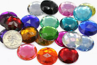 25mm Flat Back Round Acrylic Jewels High Quality Pro Grade - 21 Available Colors