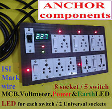 Wooden Extn 6 indian 2 universal skts,5 sw, MCB,2 LED,2 mtr 1.5mm wire, Voltmtr