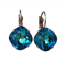 Bermuda Blue Cushion Cut Square Stone with Crystals from Swarovski Earrings 4470