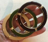 Enamel Bangle Set Lia-Sophia 3 Earth Tones Stretch Gold-Tone backing