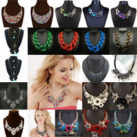 Fashion Women Rhinestone Crystal Pendant Statement Bib Choker Chunky Necklace