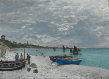 Claude Monet The Beach at Sainte Adresse Giclee Canvas Print Paintings Poster Re