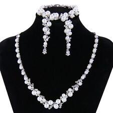 Nuptiale mariage collier boucle d'oreille bracelet set blanc perle cristal Swarovski