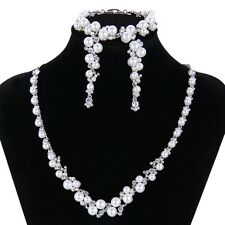 Bridal Wedding Necklace Earring Bracelet Set White Pearl Swarovski Crystal