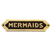 Brass Sign ~ Mermaids Plaque~ Nautical Ship Boat Beach Door Cabin Bunk Bathroom