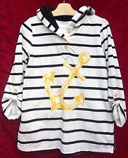 Hoodie Top S Nautical White Black Stripes Anchor Roll Tab Sleeves Susan Graver